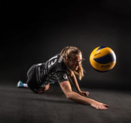 Action portrait volley ball